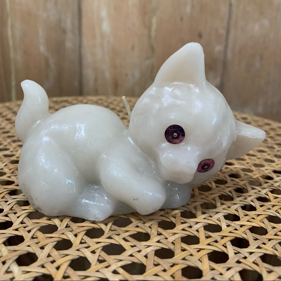 Vintage white cat candle